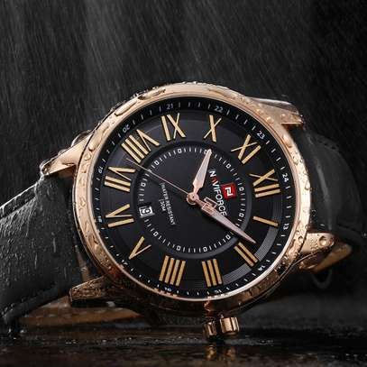 NAVIFORCE Casual/Official Luxury  Leather Wristwatch Waterproof with Date Display Clock image 1