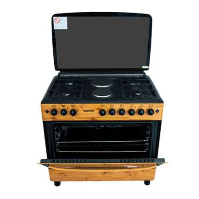 Bruhm BGC 9642NZ - 90cm x 60cm - 4 Gas + 2HP Cooker with Oven - Wood Finish Color image 1