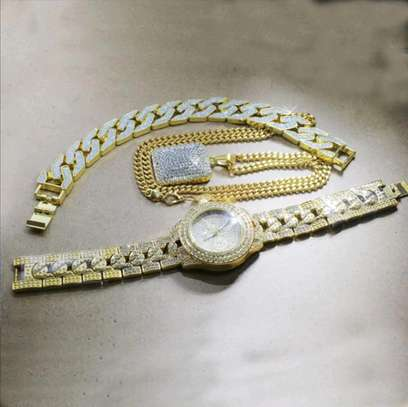 Iced Out Gold Watch+ Iced Out square pendant chain+Iced out Bracelet image 3