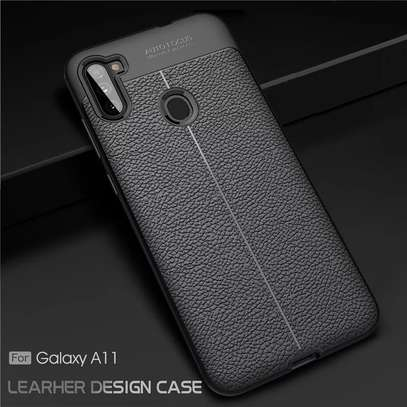 Auto Focus Leather Pattern Soft TPU Back Case Cover for Samsung M11/A11 image 1