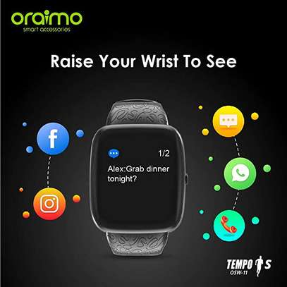 Oraimo Tempo-S IP67 Waterproof Smart Watch with Real-Time Notification, Pedometer/Calorie/Heart Rate Monitor and Activity & Sleep Tracking image 3