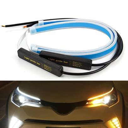 DRL LED Daytime Running Lights White Turn Signal Yellow Guide Strip for Headlight Assembly