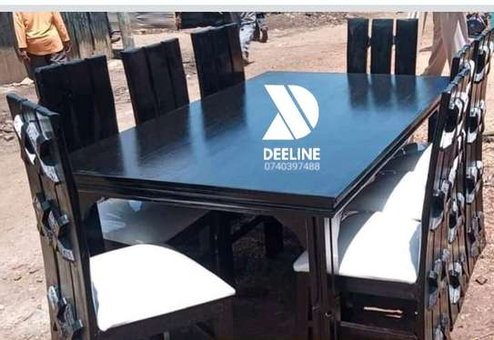 Black 8 Seater Dining Table Sets image 2