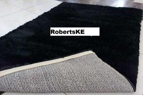 Turkish shaggy carpet black image 1