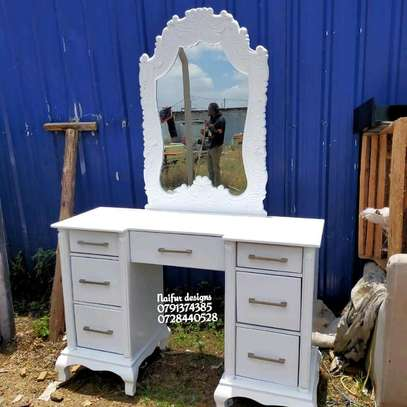White dresser/modern dresser/dressing table/dressing mirror/dressing table with mirror image 1
