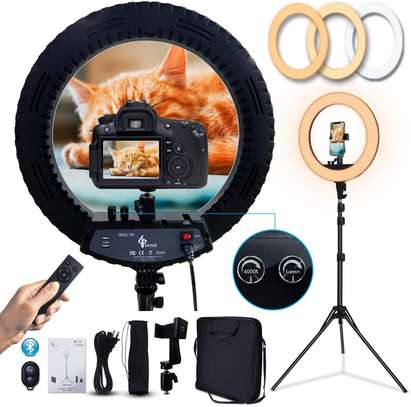 Generic-18 Inch Dimmable SMD LED Ring Light Kit 48W Stepless Brightess Adjustment 3200K-5600K Lighting Ringlight with Tripod Stand Carrying Bag Cell Phone Holder Hot Shoe Adapter for YouTube Video Live image 1