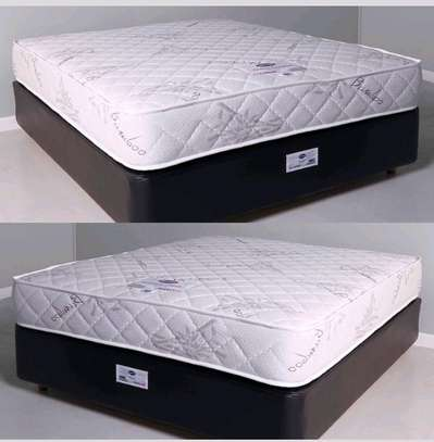Queen Size 5 by 6 Bed Set: Orthopaedic/Posturepaedic 10 thick Quilted Mattress+Bed+Headboard brand new free delivery image 2
