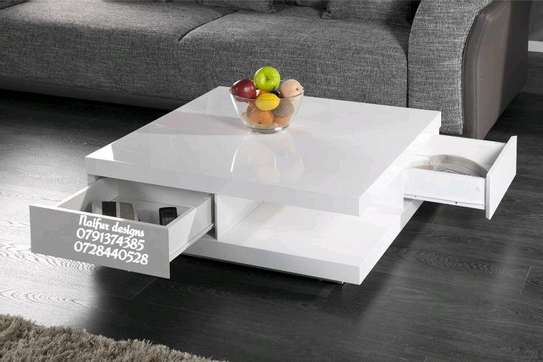 White coffee table with drawers image 1
