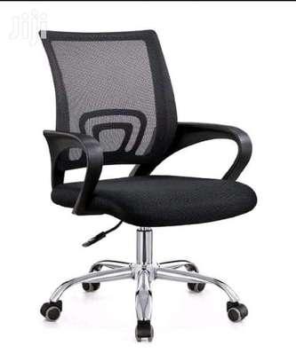 Black gas lift adjustable secretarial office chair image 1