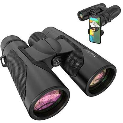 12x42 Binoculars for Adults with New Smartphone Photograph Adapter - 18mm Large View Eyepiece - 16.5mm Super Bright BAK4 Prism FMC Lens - Binoculars for Birds Watching Hunting - Waterproof image 1