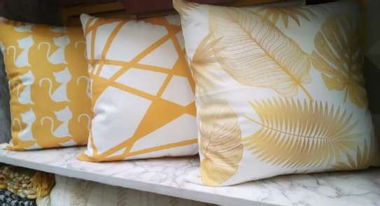 throw pillows yellow with white patterned image 1