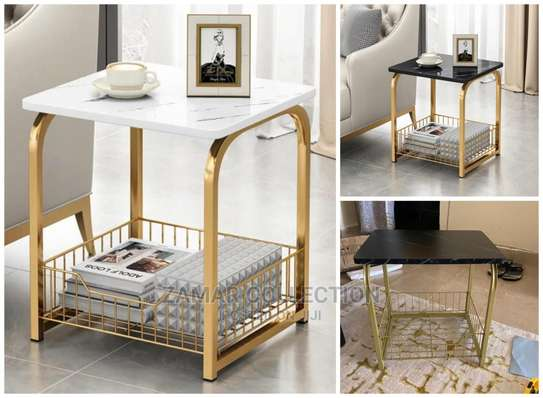 2 Layer Golden Luxurious Marble Effect Coffee Table image 1