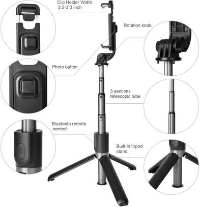 Selfie Stick, Aluminium Alloy Selfie Stick with Detachable Wireless Remote and Mini Tripod Stand Selfie Stick for GOPRO and smartphones image 6