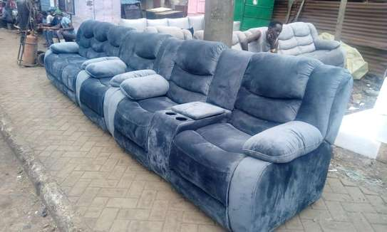 Luxurious Contemporary Quality 7 Seater Non-Reacliner Sofa with Cup Holders image 1