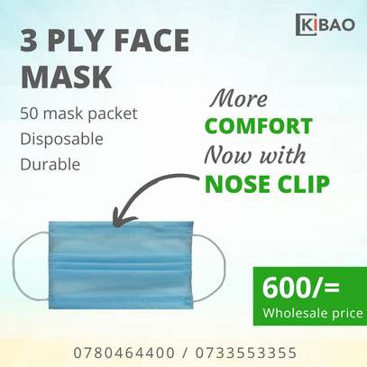 50 disposable face mask with nose clip image 1