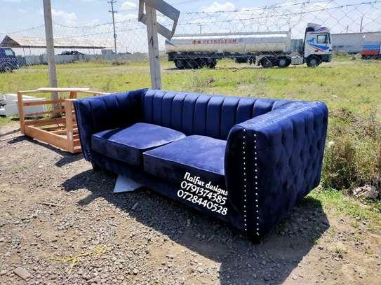 Blue sofas/three seater sofa/modern stripped sofas image 2