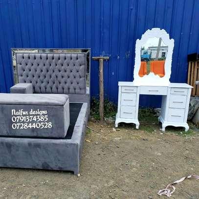 Modern bedset/bed/dresser/drawer/storage puff/grey bedset/tufted beds/modern Mirrored bedset designs image 3