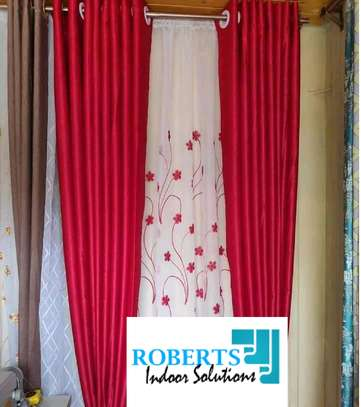 red decorative curtain image 1