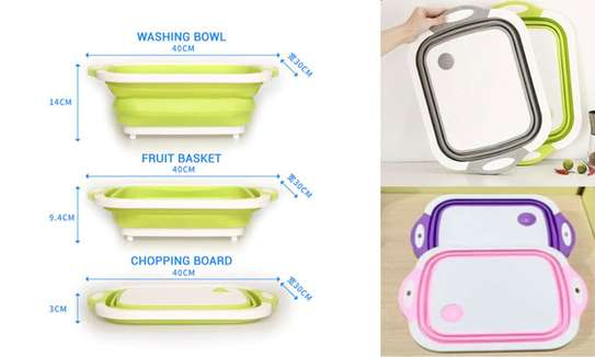 3 in 1 Collapsible Cutting Board with Colander Vegetable Fruits Cutting Board,Foldable Washing Basin, Portable Dish Washing Tub, Drain Sink Storage Basket for Home Kitchen Outdoor Camping (Green) image 2