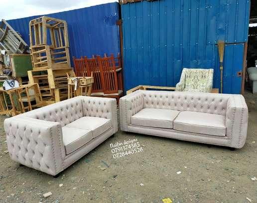 Three seater plus two seater tufted sofa/tufted sofas/Modern sofas image 1