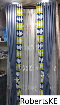 double sided yellow and grey curtain image 1