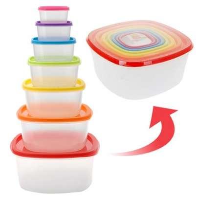 7pc Clear Plastic Food Storage Box Container Set Multi Colour Lids image 1