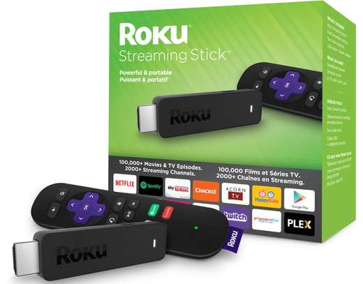 ROKU Streaming Stick - Portable, power-packed player with voice remote with  TV power and volume (2017)