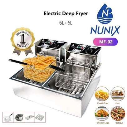 Nunix electric Double Deep fryer Machine 6L+6L commercial image 1