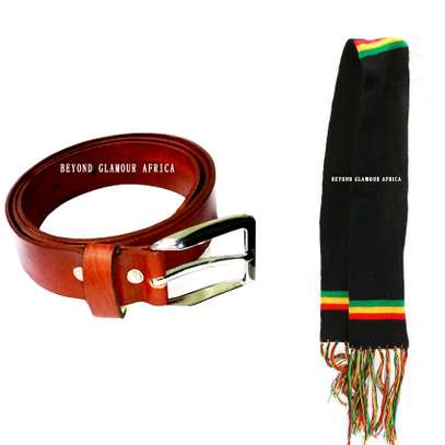 Mens Brown leather Belt with rasta knit scarf image 1