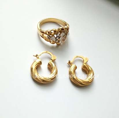 Gold plated loop earrings with a ring image 1