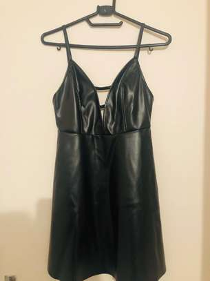 BLACK LEATHER STRAPPY DRESS