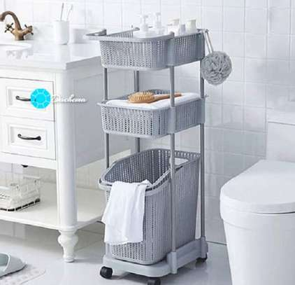 3 tier laundry basket on wheel image 1