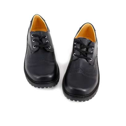 Black Leather School Shoes For Boys image 1