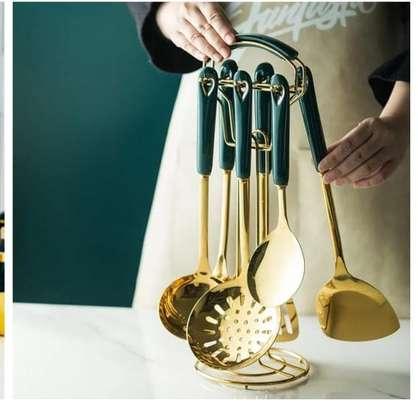 6pcs +1stand Heavy Golden Serving spoons set image 2