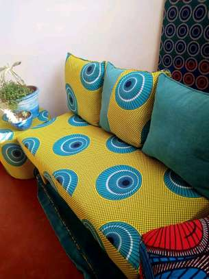 Ankara/Kitenge benches with 3 back cushions and pouf image 4