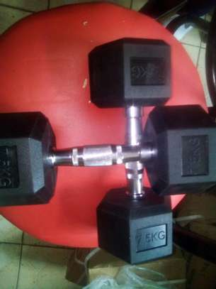 A pair of 7.5 hexagon dumbbells image 1