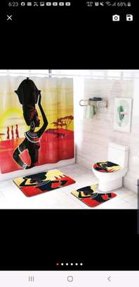Bathroom curtain mat sets image 3