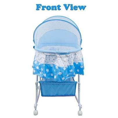 Baby carriage Multifunctional Baby Cradle Bed Crib Rocker baby Bed with Large Storage Basket & an Anti-Roll Baby Pillow image 1