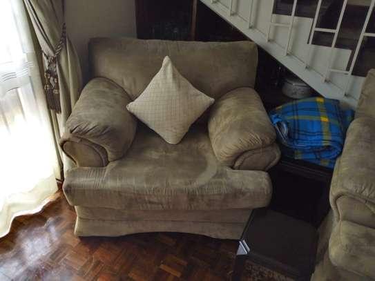 6 seater brown suede sofa set image 3