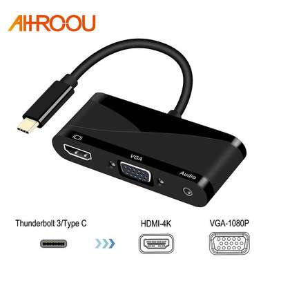 Type C To HDMI VGA 3.5MM Audio Adapter 3 In 1 USB 3.1 USB C Converter image 4