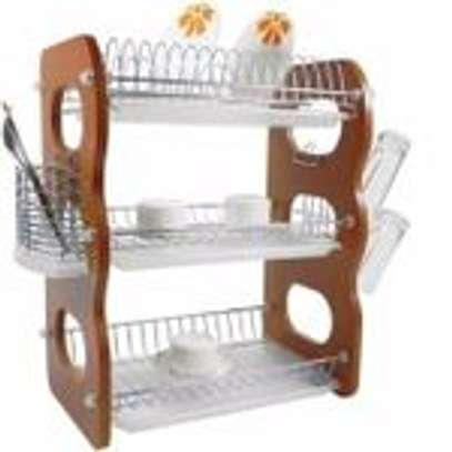 3 Layer Wooden Dish Rack/Drainer image 1