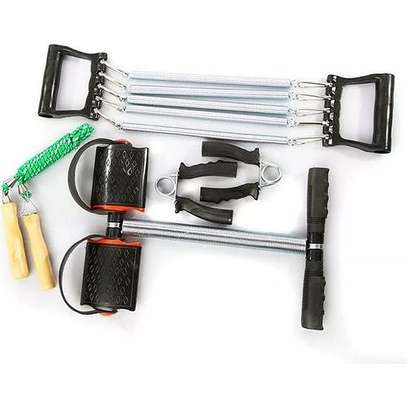 4-Way Training Workout Set with Chest Expander/Tummy Trimmer/Hand Grip & Skipping Rope image 3