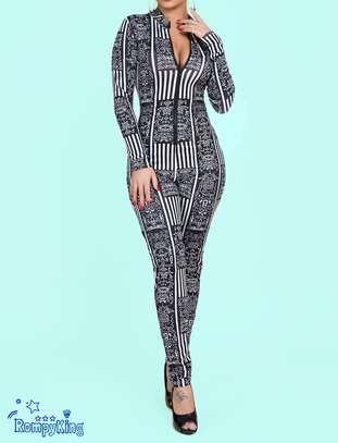 Fashion RK Black Round Neck Zip-up Stretch-African Jumpsuits image 1