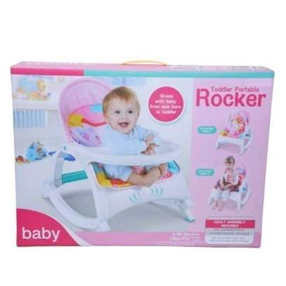 2 IN 1 Toddler Portable Rocker Dining Table- Pink image 2