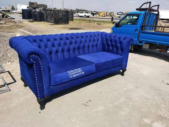 Three seater chesterfield sofas/blue chesterfield sofas image 1