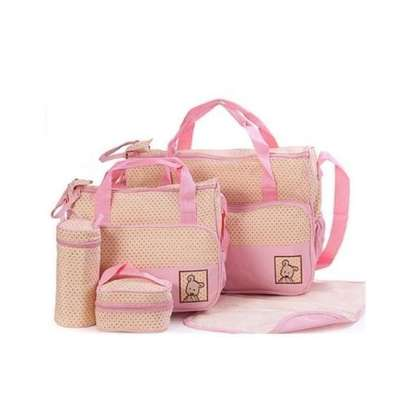 Bear Club Shoulder Diaper Bag, Multi Pockets Waterproof Nappy Bag For Travel, Large Capacity and Stylish -Pink image 1