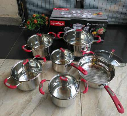 Heavy duty 12 piece stainless steel induction cooker cookware set image 1