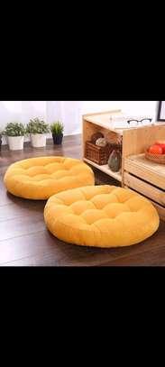 yellow round floor pillows image 1