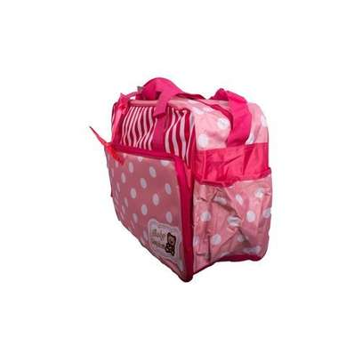 Baby Kingdom 5 Pcs Multi functional Diaper Bag - Pink & White . image 3