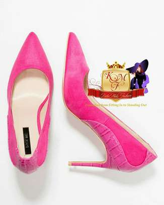 Cory Mid Heel Texture Mix Court Shoes